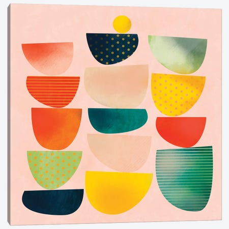 Mid Century Geometric Half Circles Canvas Print #RTB45} by Ana Rut Bré Canvas Wall Art