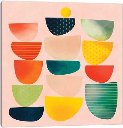 Mid Century Geometric Half Circles Canvas Art Print