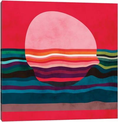 Pink Liquid Sun Canvas Art Print