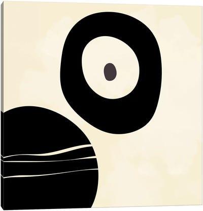 Shapes Black Brush Stroke White Abstract Canvas Art Print