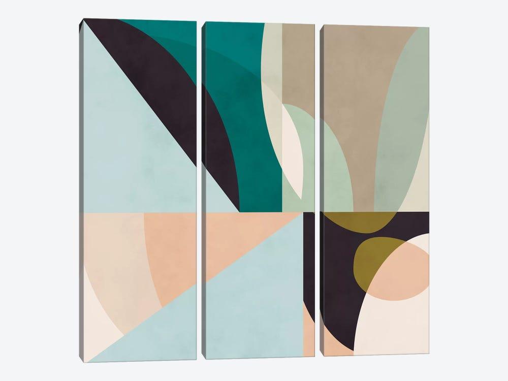 Shapes Geometric Art Mid Century II by Ana Rut Bré 3-piece Canvas Print