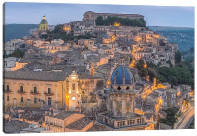 Italy, Sicily, Ragusa, Looking down on Ragusa Ibla at Dusk Canvas Art Print