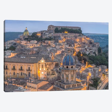 Italy, Sicily, Ragusa, Looking down on Ragusa Ibla at Dusk Canvas Print #RTI13} by Rob Tilley Canvas Print