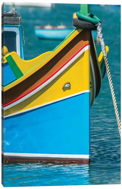 Malta, Marsaxlokk, traditional fishing boat Canvas Art Print