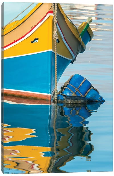 Malta, Marsaxlokk, traditional fishing boat detail I Canvas Art Print