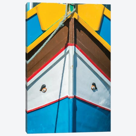 Malta, Marsaxlokk, Traditional Fishing Boat Detail II Canvas Print #RTI16} by Rob Tilley Canvas Wall Art