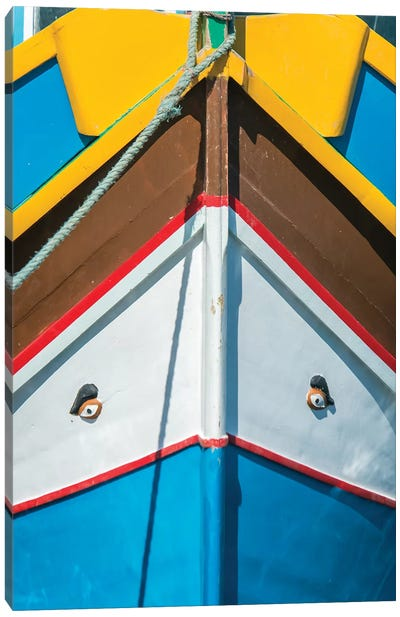 Malta, Marsaxlokk, Traditional Fishing Boat Detail II Canvas Art Print