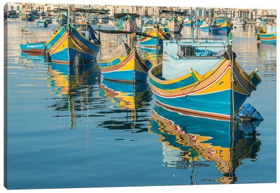 Malta, Marsaxlokk, Traditional Fishing Boats Canvas Art Print