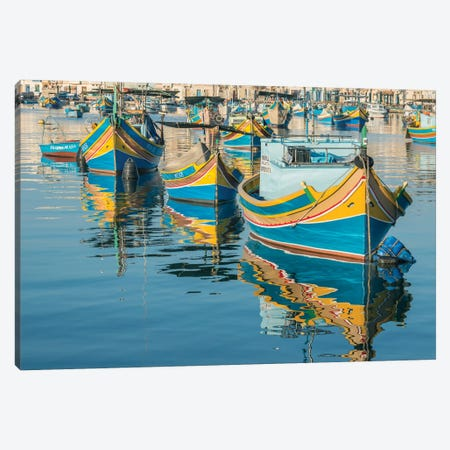 Malta, Marsaxlokk, Traditional Fishing Boats Canvas Print #RTI17} by Rob Tilley Canvas Wall Art