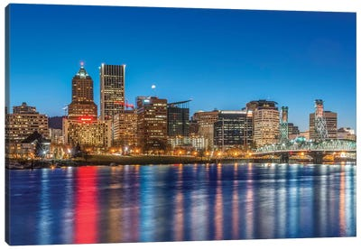 USA, Oregon, Portland, Downtown Skyline at Twilight Canvas Art Print