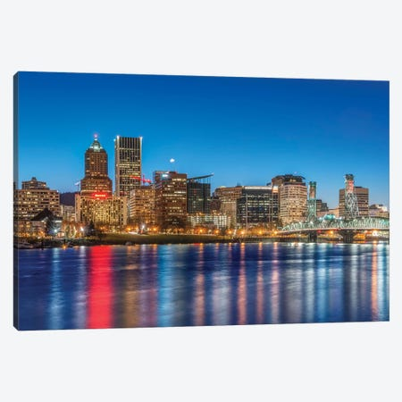 USA, Oregon, Portland, Downtown Skyline at Twilight Canvas Print #RTI21} by Rob Tilley Canvas Artwork