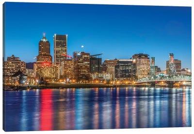 USA, Oregon, Portland, Downtown Skyline at Twilight Canvas Art Print