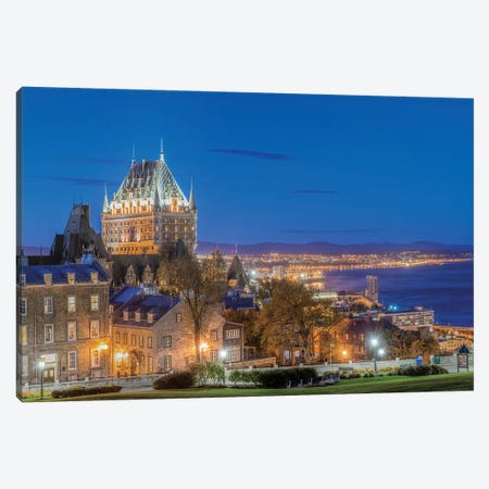 Canada, Quebec, Quebec City, Old Town At Twilight.  Canvas Print #RTI23} by Rob Tilley Canvas Wall Art