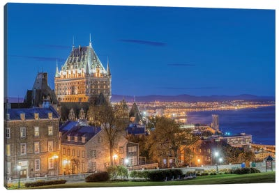 Canada, Quebec, Quebec City, Old Town At Twilight.  Canvas Art Print