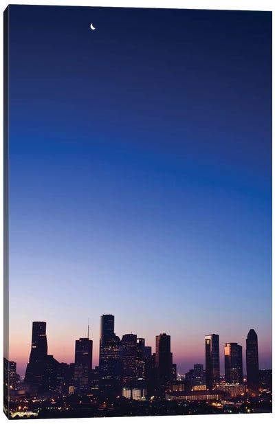 Texas, Crescent Moon Over Houston Canvas Art Print
