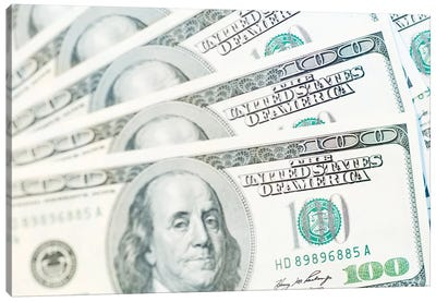 US Currency, $100 Bills (Selective Focus) Canvas Art Print