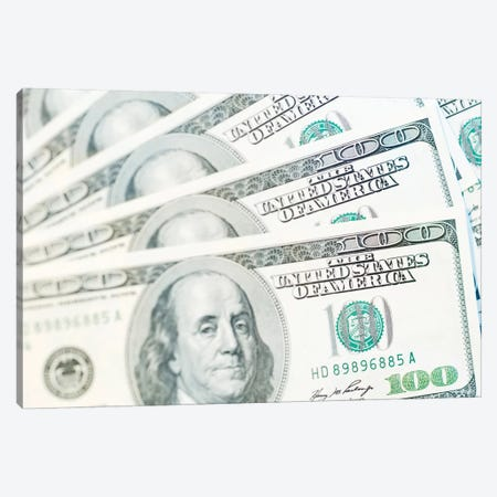 US Currency, $100 Bills (Selective Focus) Canvas Print #RTI28} by Rob Tilley Canvas Artwork