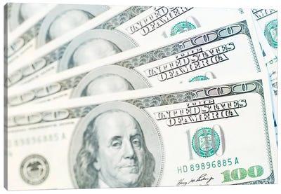 US Currency, $100 Bills (Selective Focus) Canvas Art Print