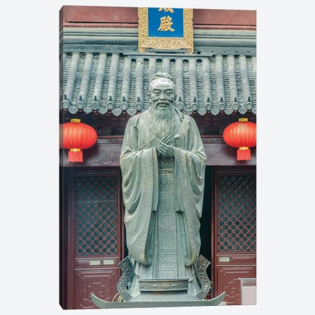 China, Jiansu, Nanjing. Confucius Temple (Fuzimiao). This is the largest statue of Confucius in China. Canvas Print #RTI29} by Rob Tilley Canvas Art