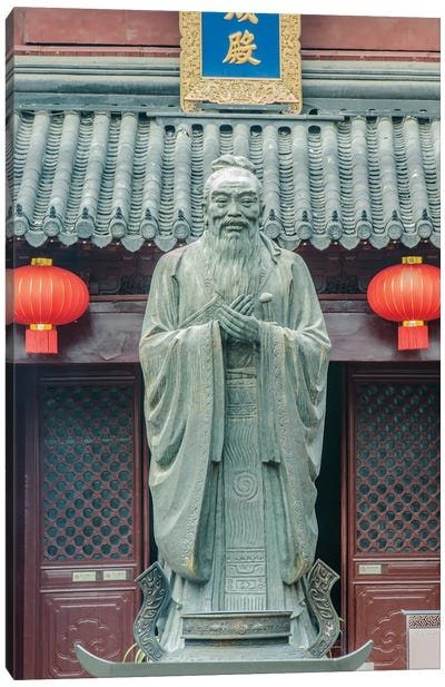 China, Jiansu, Nanjing. Confucius Temple (Fuzimiao). This is the largest statue of Confucius in China. Canvas Art Print