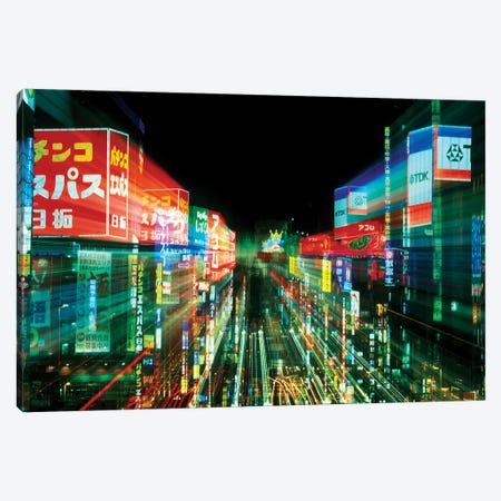Neon Motion Blur, Shinjuku, Tokyo Prefecture, Japan Canvas Print #RTI2} by Rob Tilley Canvas Wall Art