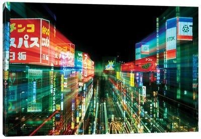 Neon Motion Blur, Shinjuku, Tokyo Prefecture, Japan Canvas Art Print