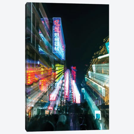 China, Shanghai. Nanjing Road, neon sign blur. 3-Piece Canvas #RTI30} by Rob Tilley Canvas Print