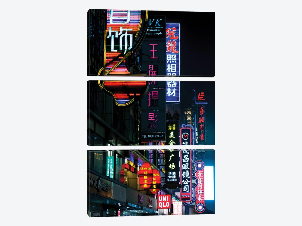 China, Shanghai. Nanjing Road neon signs. by Rob Tilley 3-piece Canvas Art Print