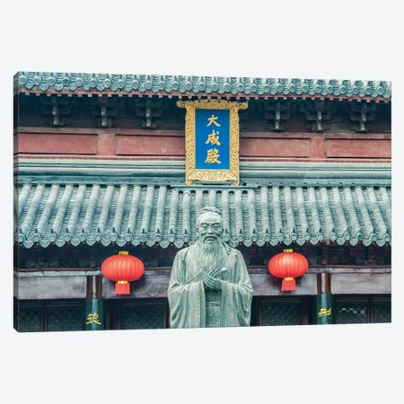 China, Jiangsu, Nanjing. Confucius Temple (Fuzimiao). This is the largest statue of Confucius in China. Canvas Print #RTI34} by Rob Tilley Canvas Wall Art