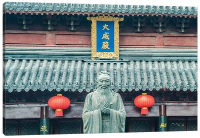 China, Jiangsu, Nanjing. Confucius Temple (Fuzimiao). This is the largest statue of Confucius in China. Canvas Art Print