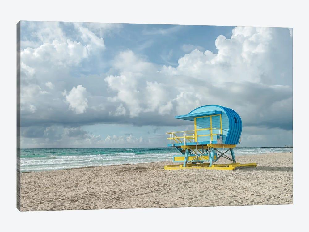 USA, Florida, Miami Beach. Colorful lifeguard station. by Rob Tilley 1-piece Canvas Art