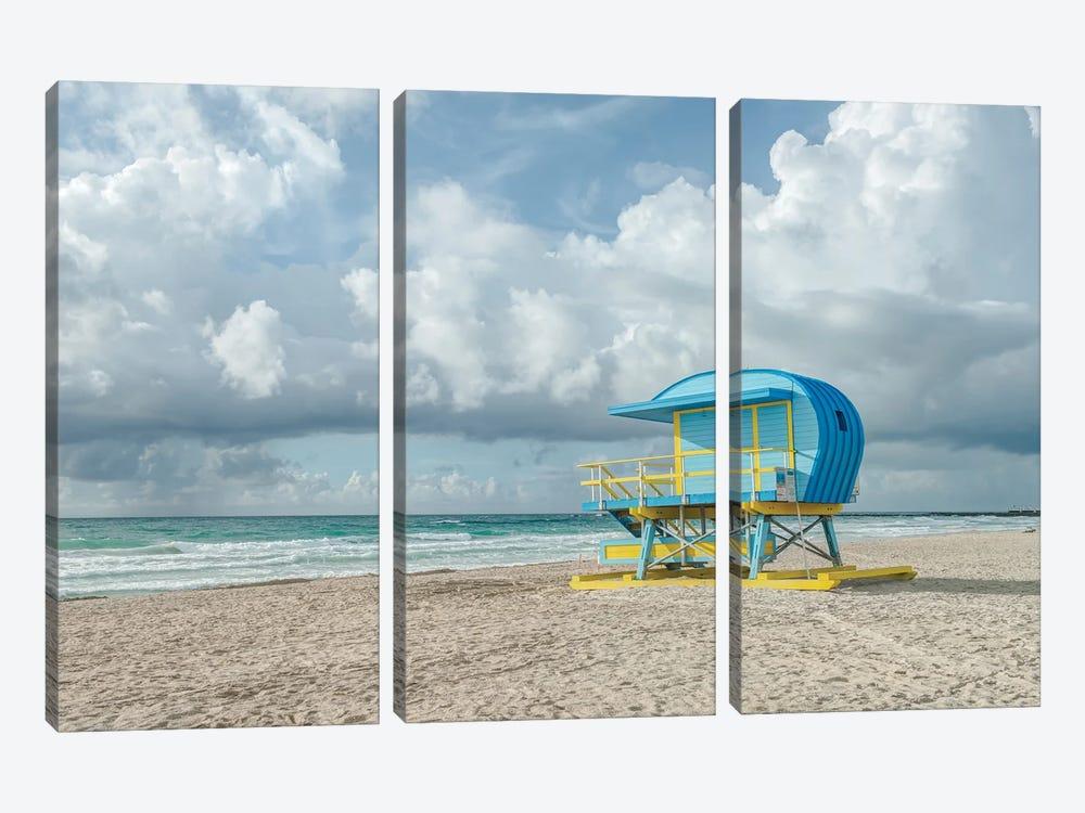 USA, Florida, Miami Beach. Colorful lifeguard station. by Rob Tilley 3-piece Canvas Art