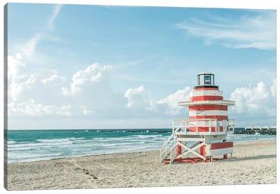 USA, Florida, Miami Beach. Colorful lifeguard station. Canvas Art Print