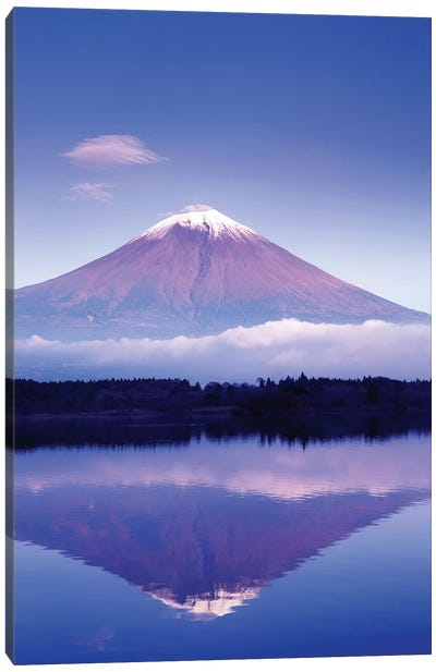 Reflection Of Mount Fuji, Lake Motosu, Yamanashi Prefecture, Japan Canvas Art Print