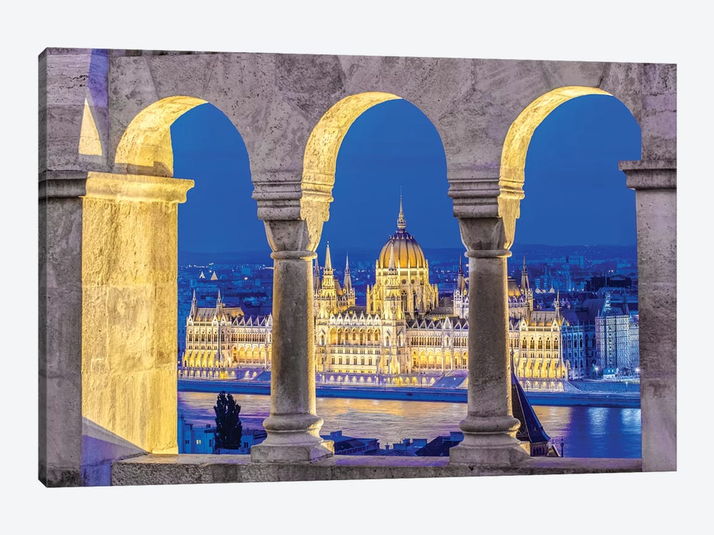 Hungarian Parliament Building As Seen Through The Arches Of Fisherman's Bastion, Budapest, Hungary by Rob Tilley 1-piece Art Print