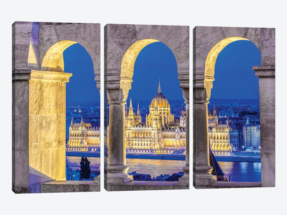 Hungarian Parliament Building As Seen Through The Arches Of Fisherman's Bastion, Budapest, Hungary by Rob Tilley 3-piece Art Print