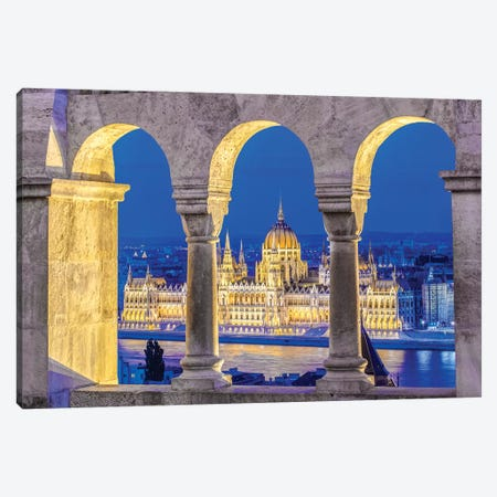 Hungarian Parliament Building As Seen Through The Arches Of Fisherman's Bastion, Budapest, Hungary Canvas Print #RTI5} by Rob Tilley Canvas Print