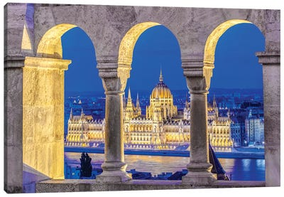 Hungarian Parliament Building As Seen Through The Arches Of Fisherman's Bastion, Budapest, Hungary Canvas Art Print