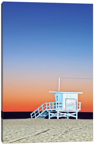 Lifeguard Hut At Twilight, Santa Monica Beach, Santa Monica, California, USA Canvas Art Print