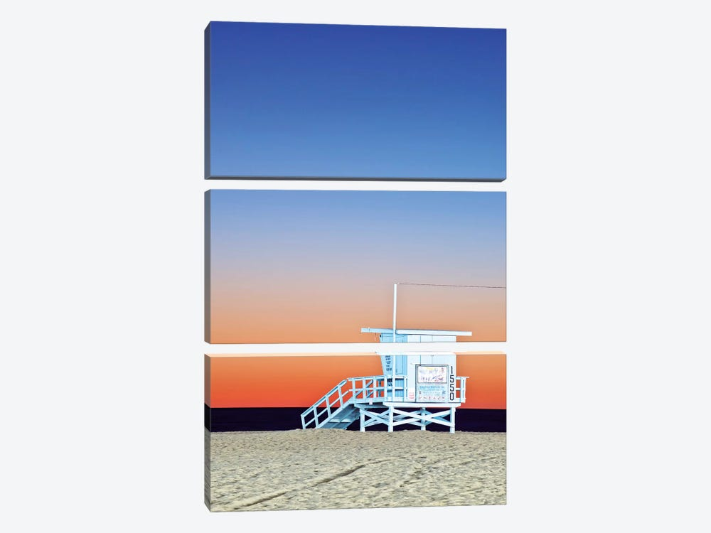 Lifeguard Hut At Twilight, Santa Monica Beach, Santa Monica, California, USA by Rob Tilley 3-piece Canvas Artwork