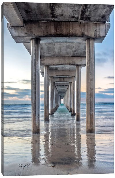 Support Pillars, Ellen Browning Scripps Memorial Pier, La Jolla, San Diego, California, USA Canvas Art Print