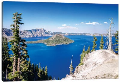 Wizard Island, Mount Mazama And Crater Lake, Crater Lake National Park, Klamath County, Oregon, USA Canvas Art Print