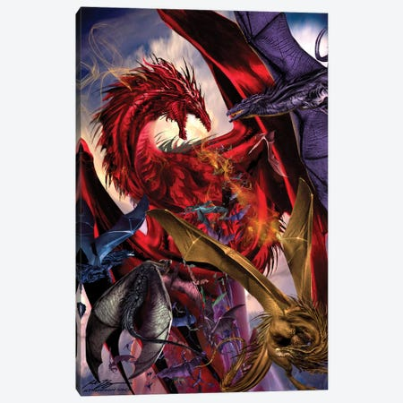 Dragon Battle Canvas Print #RTP164} by Ruth Thompson Canvas Artwork