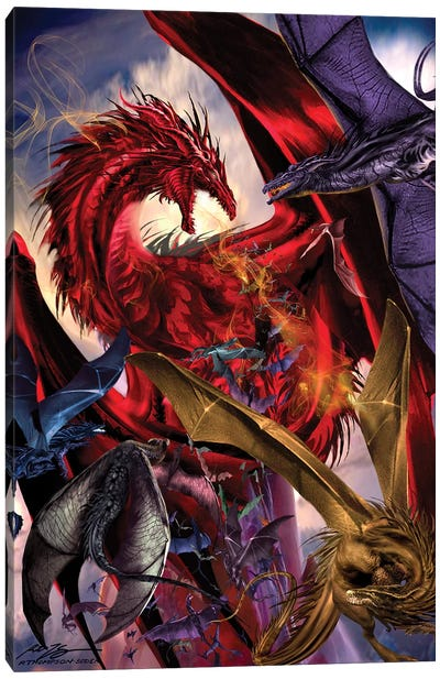 Dragon Battle Canvas Art Print