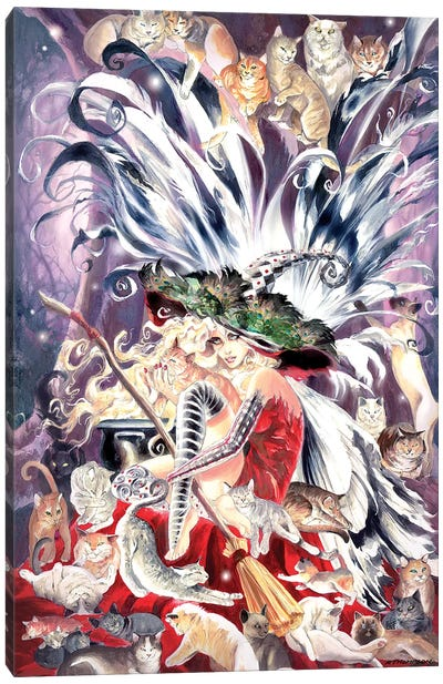 Faerie Witch Of Cats Canvas Art Print