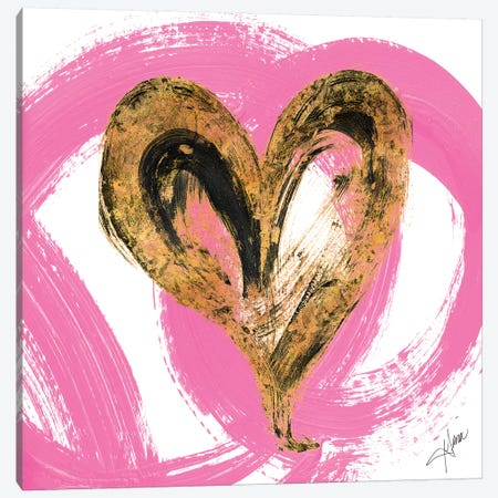 Pink & Gold Heart Strokes I Canvas Print #RTR10} by Gina Ritter Canvas Wall Art