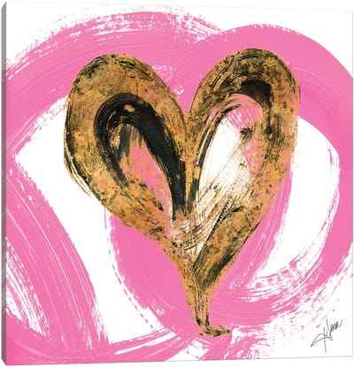 Pink & Gold Heart Strokes I Canvas Art Print