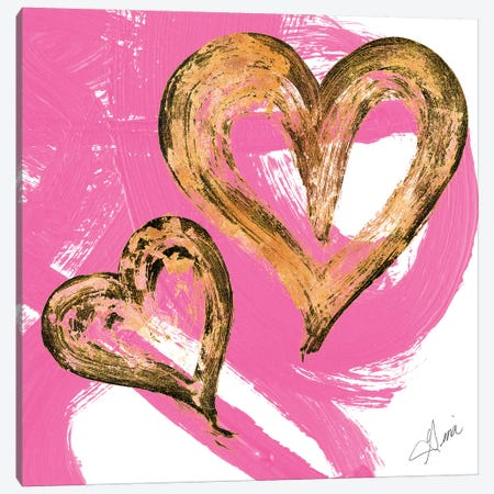 Pink & Gold Heart Strokes II Canvas Print #RTR11} by Gina Ritter Canvas Art