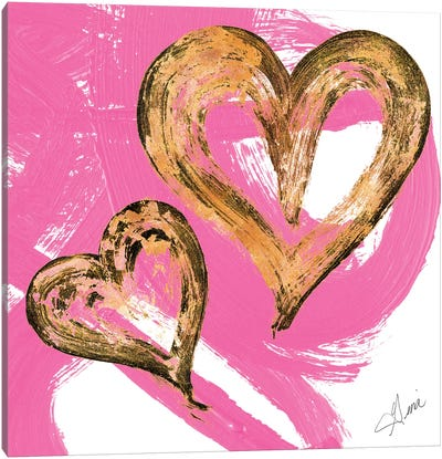 Pink & Gold Heart Strokes II Canvas Art Print