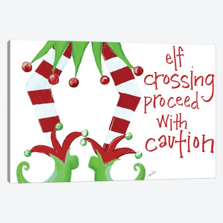 Elf Crossing Proceed With Caution Canvas Print #RTR19} by Gina Ritter Canvas Artwork